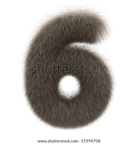 Number 6 from fur alphabet - stock photo