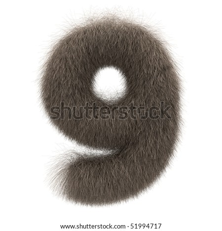 Number 9 from fur alphabet - stock photo