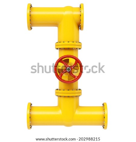 Number from gas pipes. Isolated on white background. - stock photo