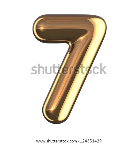 Number 7 from gold round alphabet. There is a clipping path