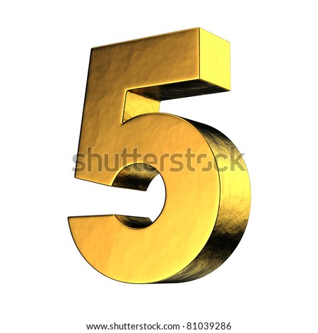Number 5 from gold solid alphabet. There is a clipping path - stock photo