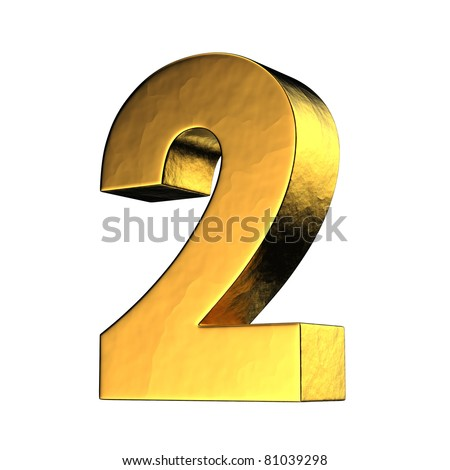 Number 2 from gold solid alphabet. There is a clipping path - stock photo