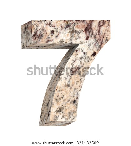 Number from granite alphabet set isolated over white. Computer generated 3D photo rendering. - stock photo