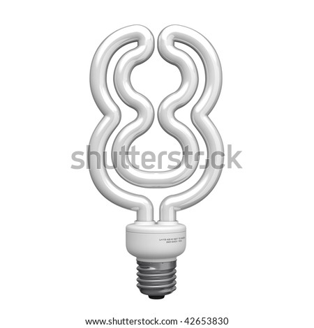 Number 8 from lamp alphabet. There is a clipping path - stock photo