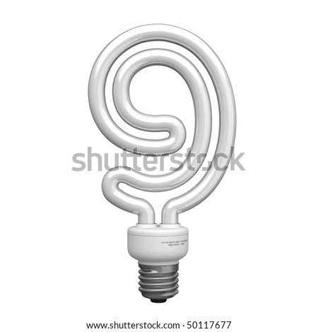 Number 9 from lamp alphabet. There is a clipping path - stock photo