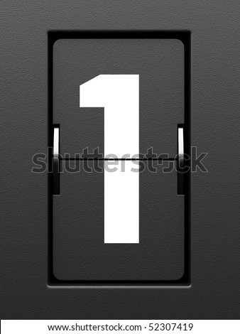 Number 1 from mechanical scoreboard alphabet - stock photo
