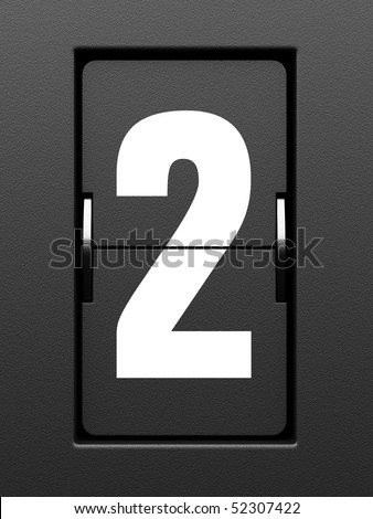 Number 2 from mechanical scoreboard alphabet - stock photo