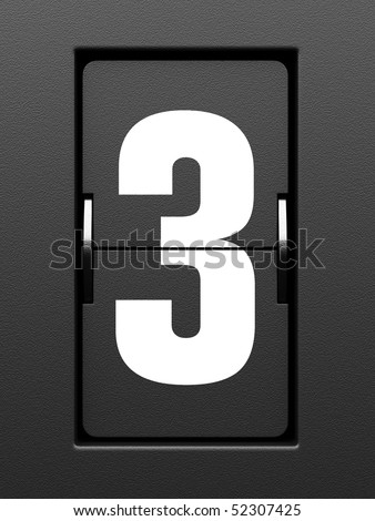 Number 3 from mechanical scoreboard alphabet - stock photo