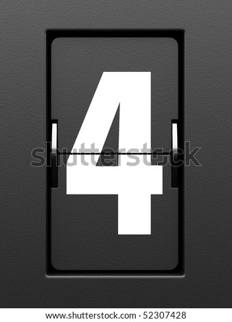 Number 4 from mechanical scoreboard alphabet - stock photo