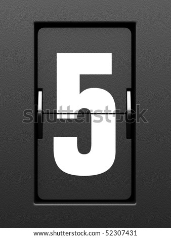 Number 5 from mechanical scoreboard alphabet - stock photo