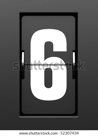 Number 6 from mechanical scoreboard alphabet - stock photo