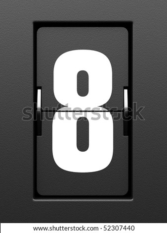 Number 8 from mechanical scoreboard alphabet - stock photo