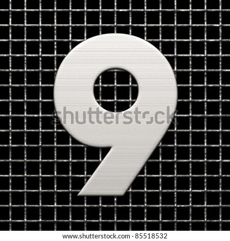 Number 9 from metal net alphabet. There is a clipping path - stock photo