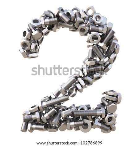 number from nuts and bolts. isolated on white. - stock photo