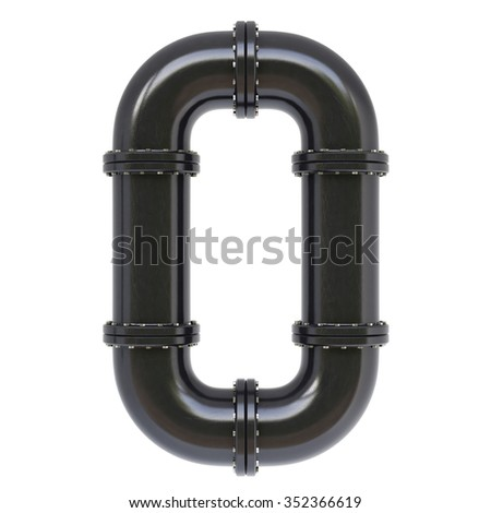 Number from oil pipes. Isolated on white background. - stock photo