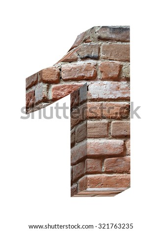 Number from old brick alphabet set isolated over white. Computer generated 3D photo rendering. - stock photo