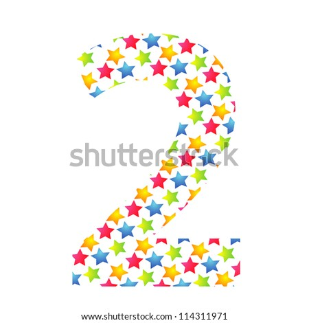 Number 2 from paper small star on white background. - stock photo
