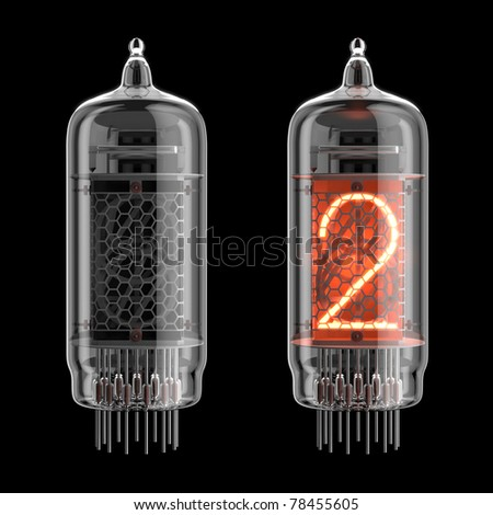 Number 2 from retro-styled digitron alphabet isolated on black. There is a clipping path - stock photo