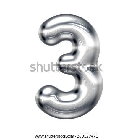 Number 3 from round chrome alphabet. There is a clipping path - stock photo