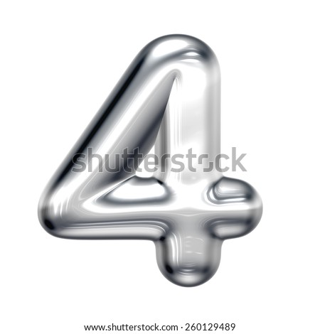 Number 4 from round chrome alphabet. There is a clipping path - stock photo