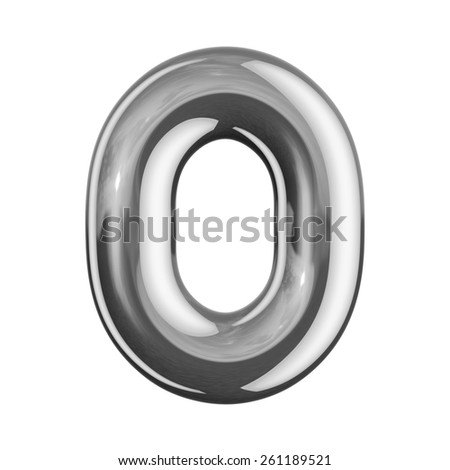 Number 0 from round reflection chrome alphabet. There is a clipping path - stock photo