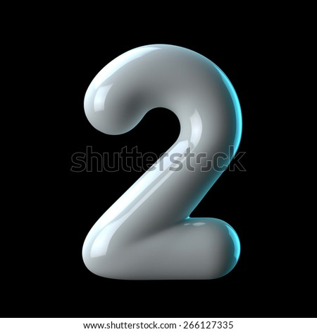 Number 2 from round white blue light alphabet. There is a clipping path - stock photo