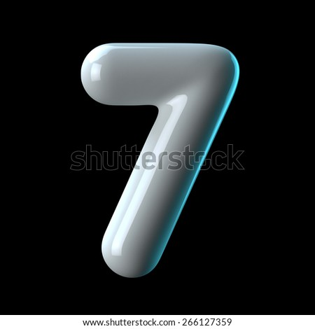 Number 7 from round white blue light alphabet. There is a clipping path - stock photo