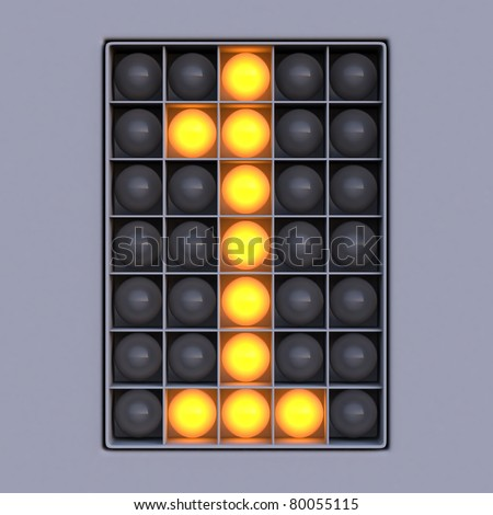 Number 1 from scoreboard alphabet (5x7 lights) - stock photo