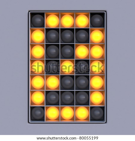 Number 0 from scoreboard alphabet (5x7 lights) - stock photo