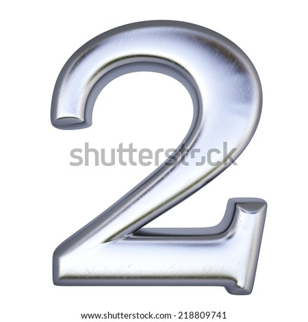 number from silver. isolated on white. - stock photo
