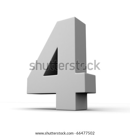 Number 4 from solid alphabet. There is a clipping path