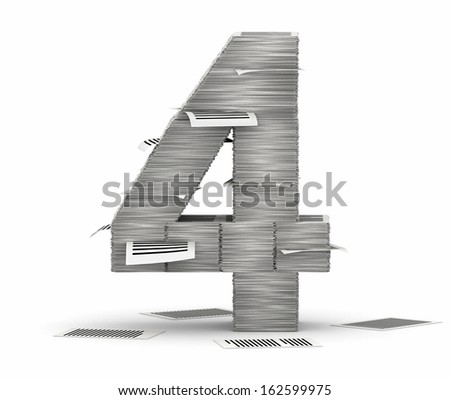 Number 4, from stacks of paper pages font - stock photo