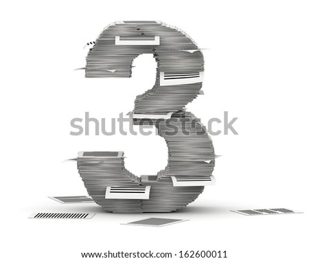 Number 3, from stacks of paper pages font - stock photo