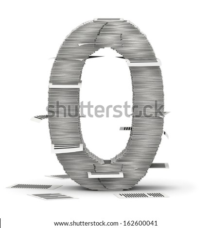 Number 0, from stacks of paper pages font - stock photo