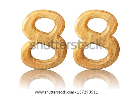 Number 88 from Teak wood on white background