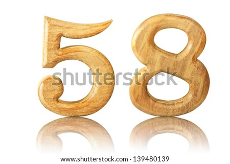Number 58 from Teak wood on white background
