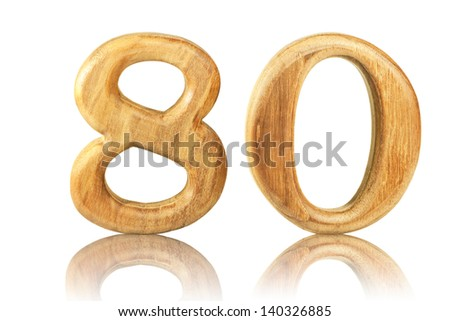 Number 80 from Teak wood on white background