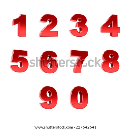 Number from 0 to 9 - stock photo