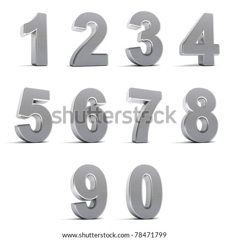 Number from 0 to 9 in chrome over white background - stock photo