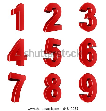 Number from 1 to 9 in red over white background - stock photo