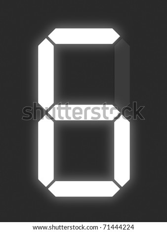 Number 6 from white digital display series - stock photo
