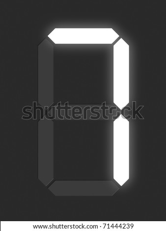 Number 7 from white digital display series - stock photo