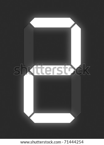Number 2 from white digital display series - stock photo