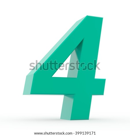 Number 4 green collection on white background illustration 3D rendering