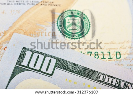 Number 100. Hundred dollars bill fragment macro, new edition. - stock photo