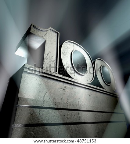 Number hundred in silver letters on a silver pedestal - stock photo