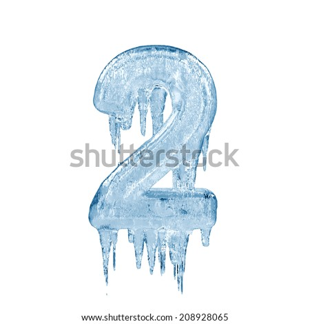 Number 2. Ice font isolated on white background. Alphabet. - stock photo
