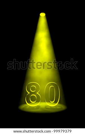 Number 80 illuminated with yellow spotlight on black background - stock photo