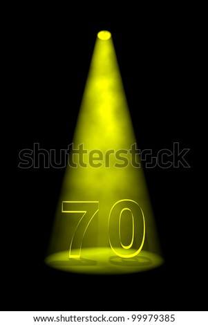 Number 70 illuminated with yellow spotlight on black background - stock photo