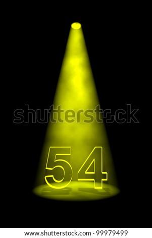 Number 54 illuminated with yellow spotlight on black background - stock photo